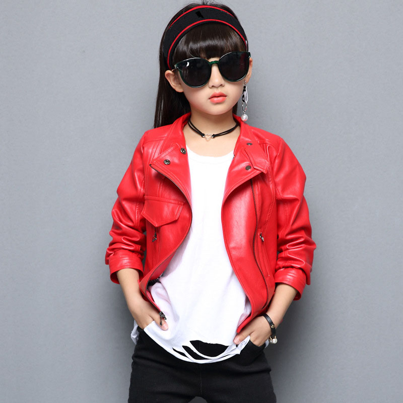 V-TREE Girls Jacket Fashion Autumn Imitation Leather Jackets For Teenage Girl Spring Children Outerwear Kids Coat Christmas Tops