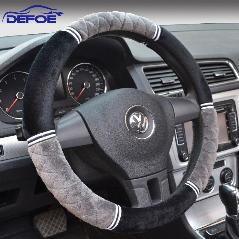 2017 New winter short plush car steering wheel cover 3D keep warm antiskid Diameter 36 38