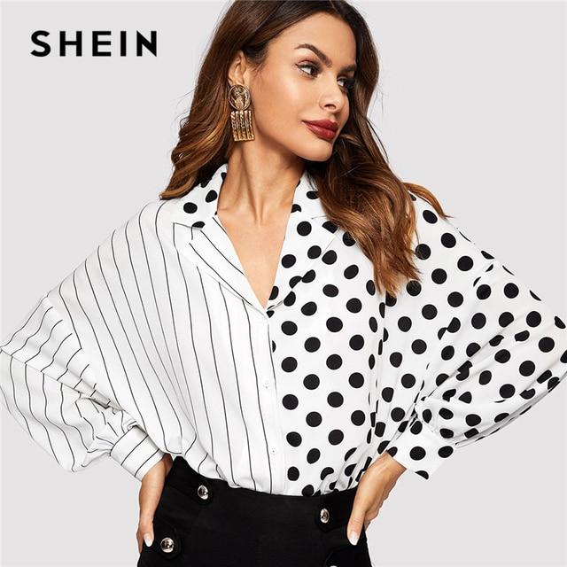 e4b4f562a5 SHEIN Black and White Striped and Polka Dot Mixed Long Dolman Sleeve Button  Placket Blouse Women