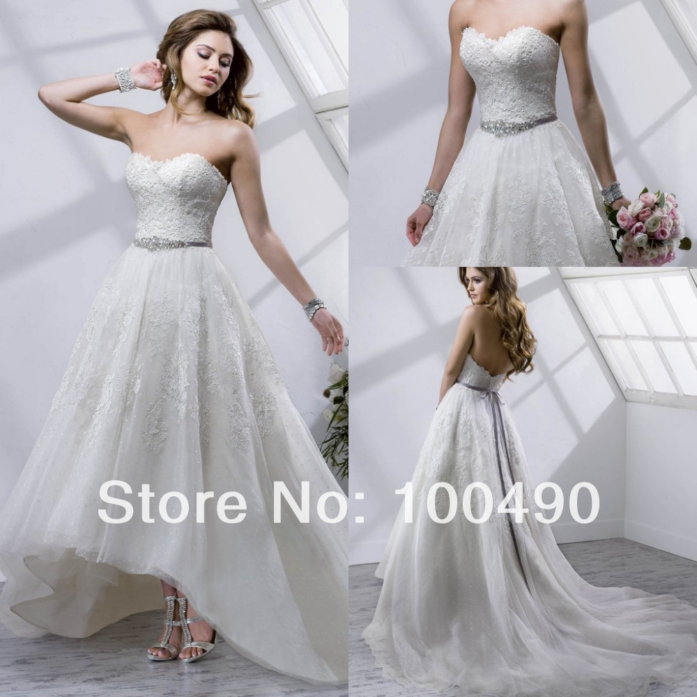 Short front long train Macie wedding dresses high low tea length ...