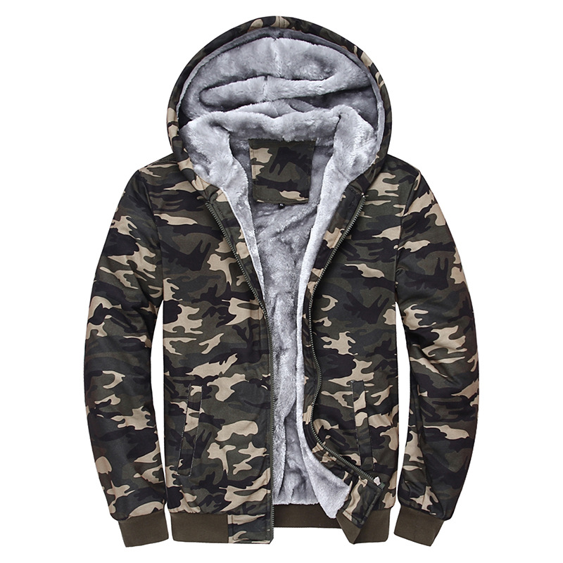 2017 Winter Men Camouflage fleece Hooded Sweatshirt Male Warm Thick Tracksuits Plus size Thicken Velvet Hoodies 071803