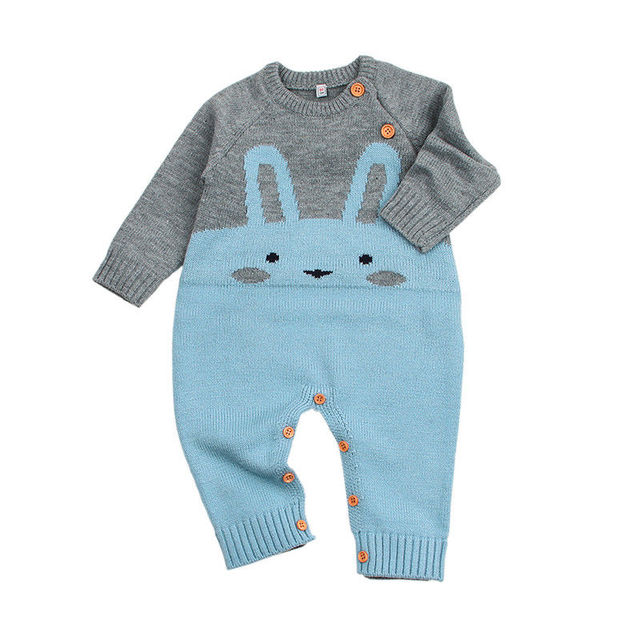 a4488dee4212 2018 Rabbit Pattern Sweater Baby Girls Boys Romper Winter Jumpsuit Playsuit  Playsuit Outfits