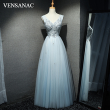 VENSANAC 2018 V Neck Lace Embroidery A Line Long Evening Dresses Vintage Beadings Appliques Tulle Party Prom Gowns
