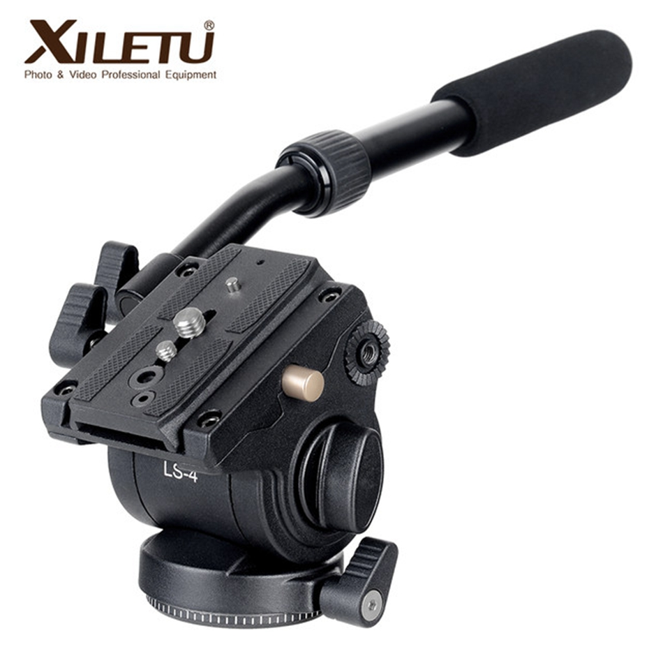 XILETU LS-4 Tripod Head Quick Release Plate Handgrip Video Photography Fluid Drag Hydraulic For ARCA-SWISS Manfrotto DSLR Camera цена