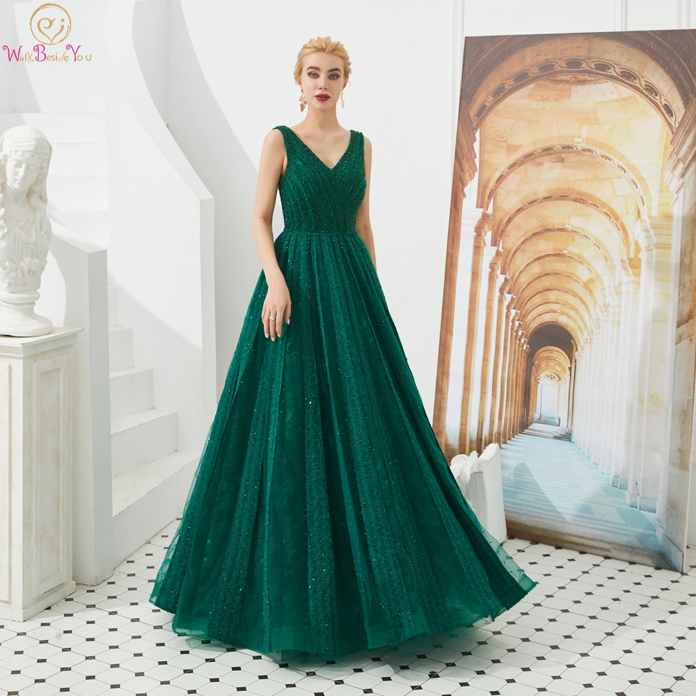 Green Evening Dresses 2019 Lace Dubai Beaded V Neck Long Floor Length Prom Gowns Party Walk Beside You Ceremony Engagement Gown