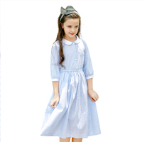 New Child Kids Girl Dress Doll Collar Fall Navy Blue Striped Cotton Preppy Style Striped Long Sleeve TUTU Dresses For Girl 3 14