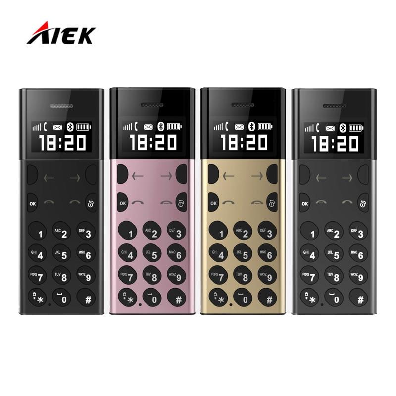 Original AIEK A5 AEKU A5 Ultra Thin Mini Card Phone MP3 Player Anti Lost Bluetooth Dialer