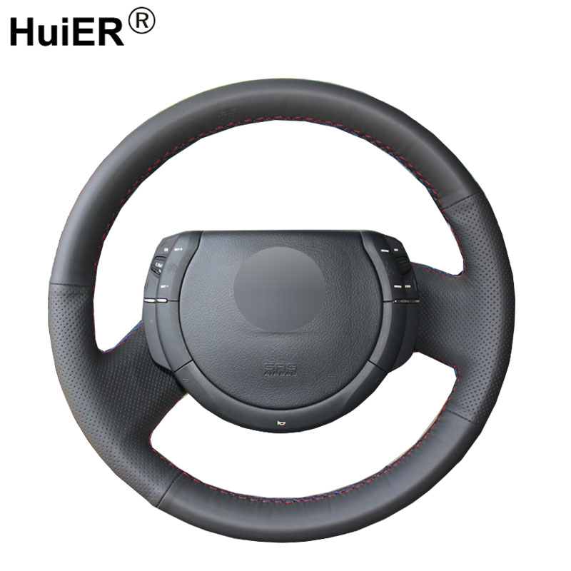 HuiER Hand Sewing Car Steering Wheel Cover Breathable Comfortable Black Leather For Citroen Triumph Old C4 C-quatre 2005-2010