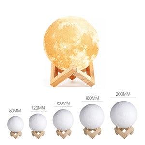 Image 5 - Nowość lampa wydruk 3D księżyc lampka nocna 2 kolory sterowanie dotykowe kryty Home Decor sypialnia regał dzieci dzieci prezenty Chirstmas