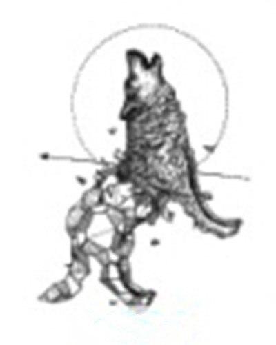Impermeable Faux Tatouage Temporaire Autocollants Gris Geometrique