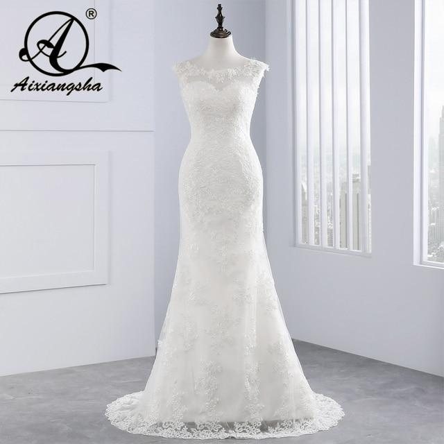 2018 White Lace Wedding Dress Court Train Appliques Mermaid Wedding Dresses Elegant Bride Dresses