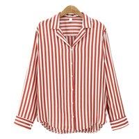 2017 New Spring Autumn Women Blouse Flower V-Neck Long Sleeve Work Shirts Women office Tops Striped blouse for business