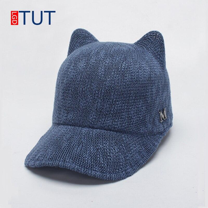 2018 Primavera Verano moda sombrero lindo gato orejas gorras sombreros de las mujeres de punto gorras de béisbol boina transpirable ecuestre sombrero