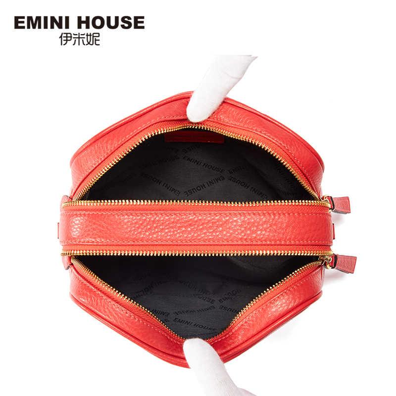 EMINI HOUSE אמיתי עור תיק Crossbody תיקי נשים כתף תיק נשי פס כיכר צורת מפורסם מותג אישה שקיות 2018