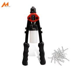 Mão rebitador arma manual cego rebite kit 100 pçs cabeça redonda cego rebites decoração do prego pop m4x10mm ferramenta de rebitagem arma