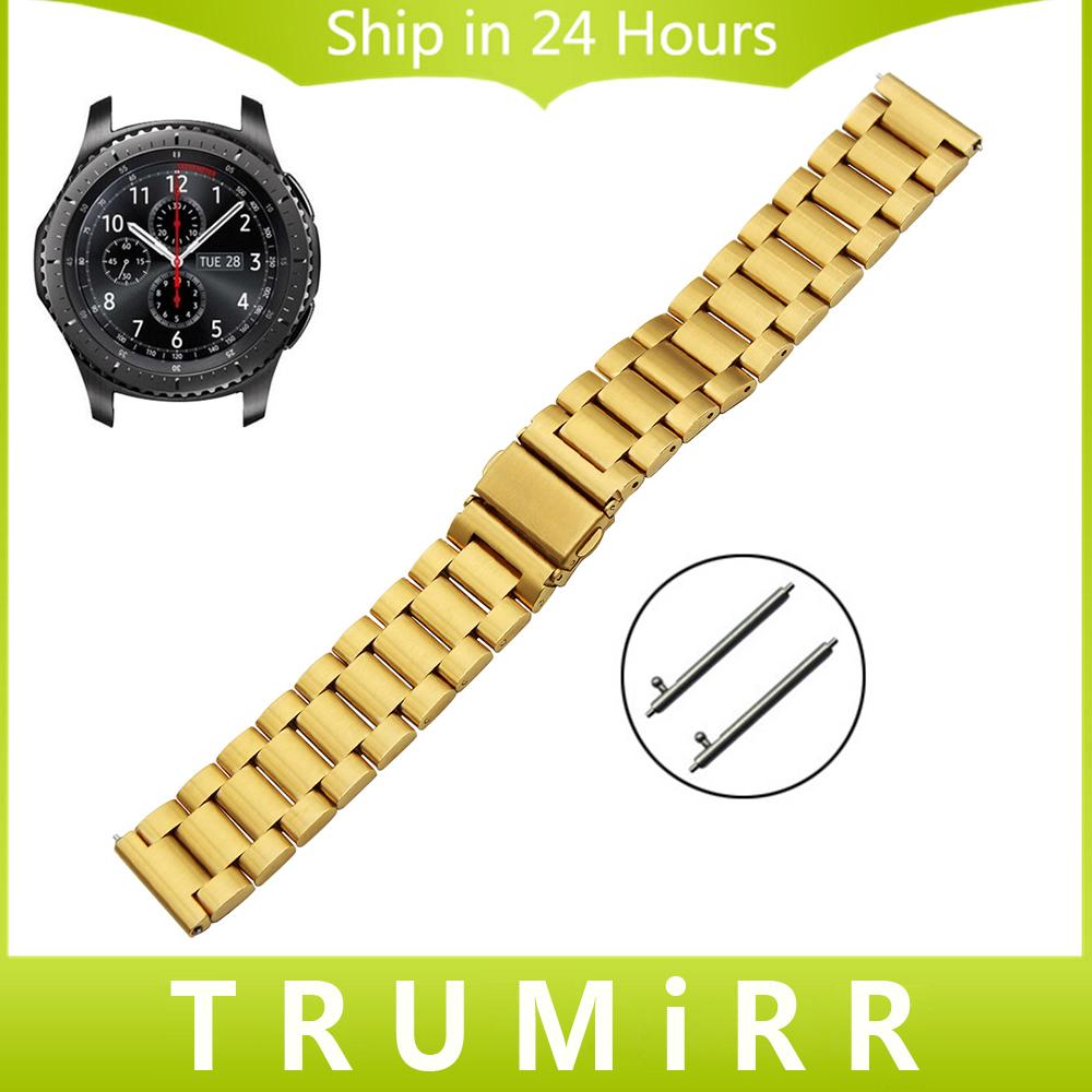 Prix pour 22mm Bracelet En Acier Inoxydable Libération Rapide pour Samsung Gear S3 Classique Frontière Bande de Montre-Bracelet Ceinture Bracelet Noir Or Argent
