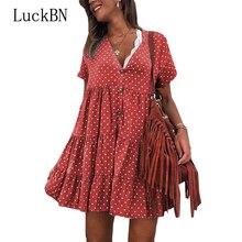 купить New Women Summer Dress Plus Size Cotton Polka Dot Dress V Neck Ruffle Beach Dress Bohemian Loose Causal Sundress Mini Sexy Robe дешево