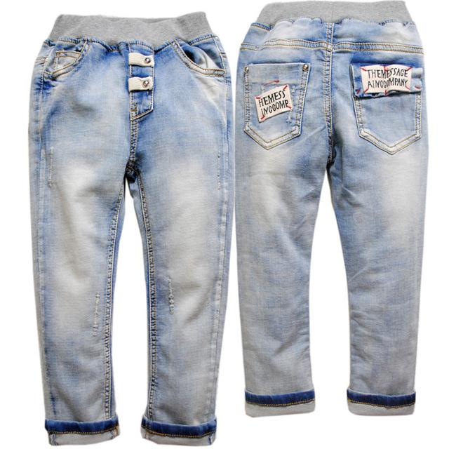 3638 da menina do menino crianças não desbotar jeans luz azul calças primavera outono calças roupas das meninas dos meninos das crianças