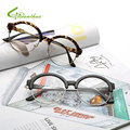 Retro Women Glasses Plain Mirror Big Round Metal Frame Men Women Vintage Goggles Clear Lens Semi-Rimless Women's Glasses