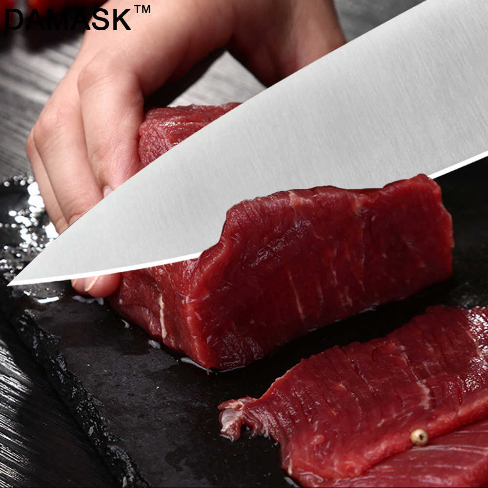 Damask 3Cr13mov Stainless Steel Knife Utility Santoku Chef Slicer Stainless Steel Kitchen Knives Japanese Style Meat Cleaver
