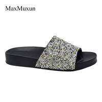 MaxMuxun Shoes Woman Slip On Slippers 2017 Summer Glitter Platform Gladiator Slides Casual Shoes Woman Bling