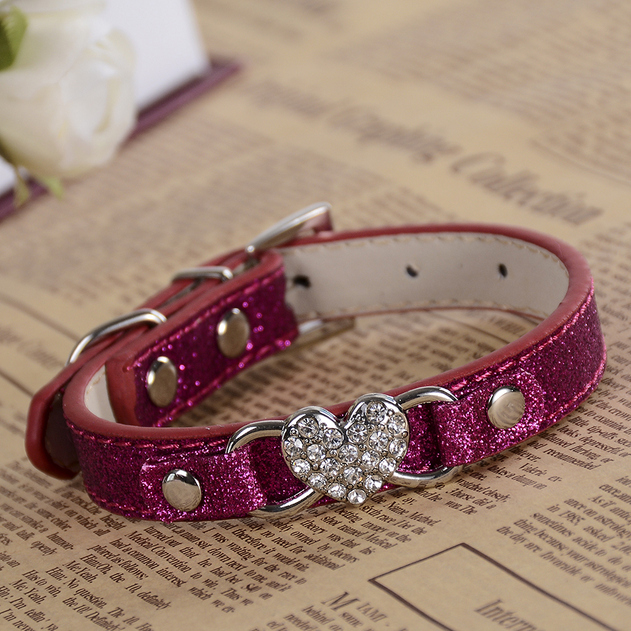 Fashion Glitter Læder Hund Collar Bling Små Pet Produkter For Hunde Rhinestone Dog Tilbehør Justerbar Buckle RED PINK