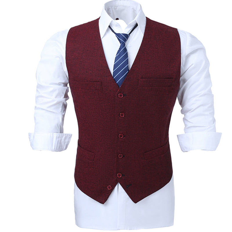Red wool blended herringbone tweed vest Slim mens suit vest custom sleeveless jacket men ...