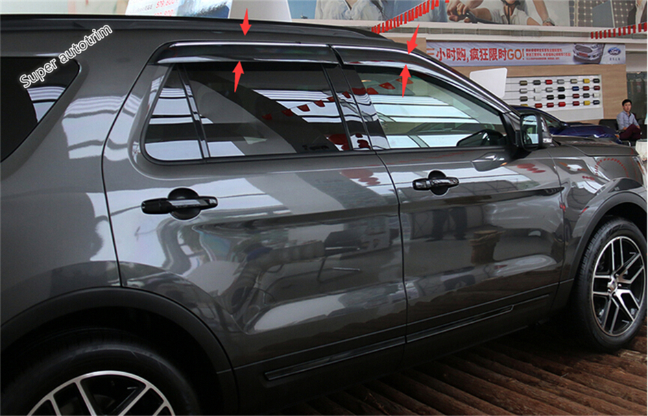 Light Grey Outside Mount Window Visor Rain Guard 4pcs Ford Focus Sedan 2012-2016