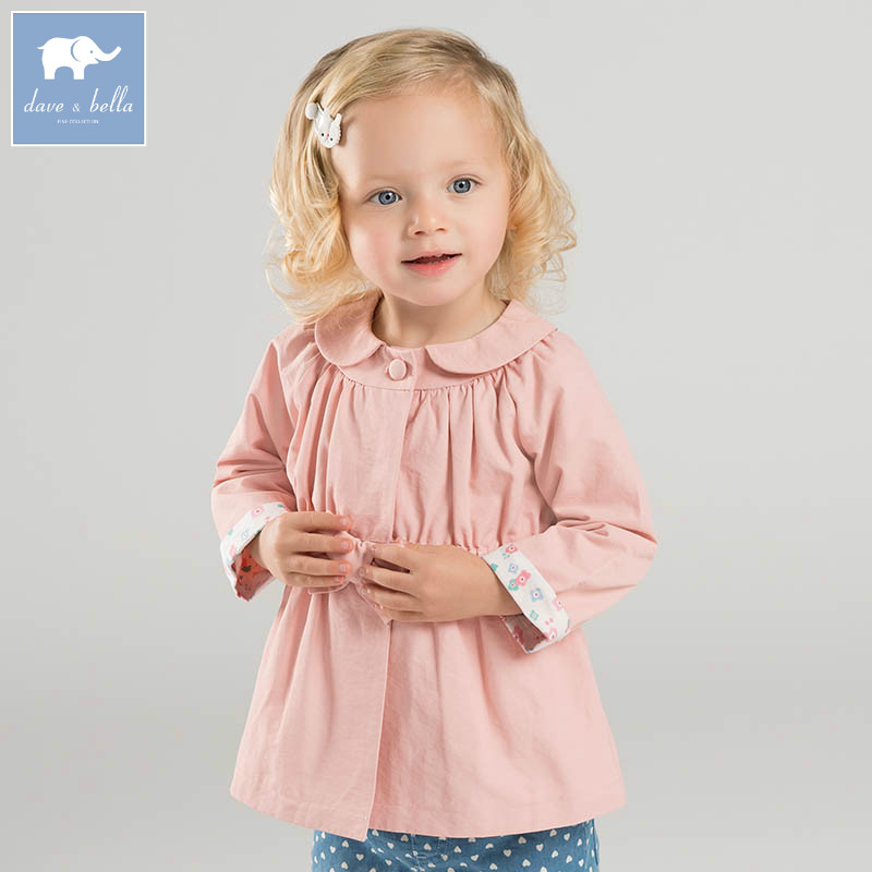 DBM6964 dave bella spring baby girls coat kids pink clothes children high quality lovely coat