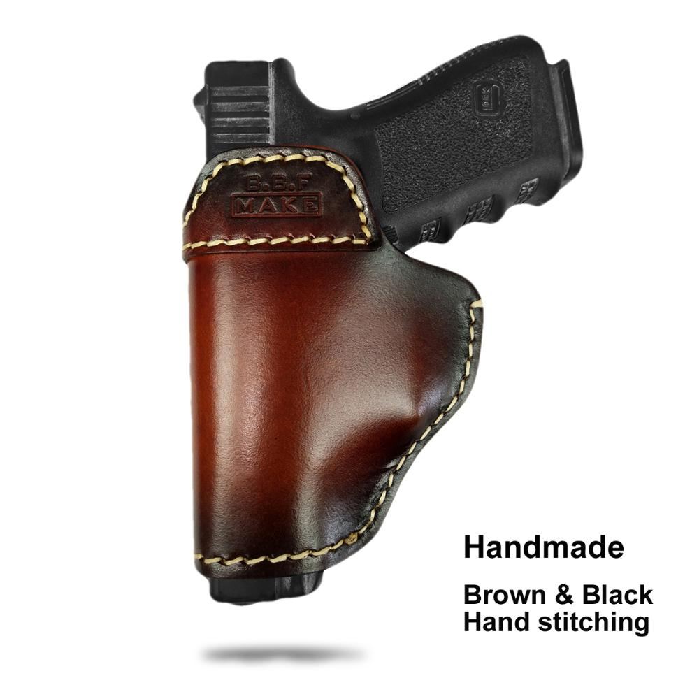 B.B.F MAKE Gun Holster Leather For S&W M&P Shield - GLOCK 17 19 22 23 26 27 32 33 42 43 / Springfield XDS IWB Holsters Brown