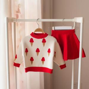 Image 2 - Bebê outono inverno meninas conjunto de roupas crianças algodão 2 pçs panos crianças roupas camisa + saia camisola terno para meninas traje 5 t