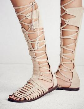 2016 Fashion Women Shoes Cross Tie Sandals Knee High Boots Open Toe Suede Gladiator Sandals Women Boots Flat Zip Sandalias Mujer offene stiefeletten flach