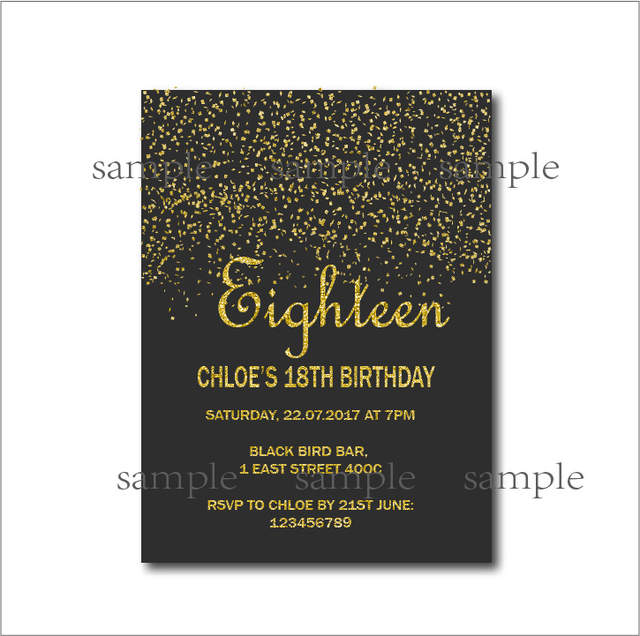 Placeholder 20 Pcs Gold Glitter 18th Birthday Invitations Adult 21st 30th 40th 50th 70th 80th 90th