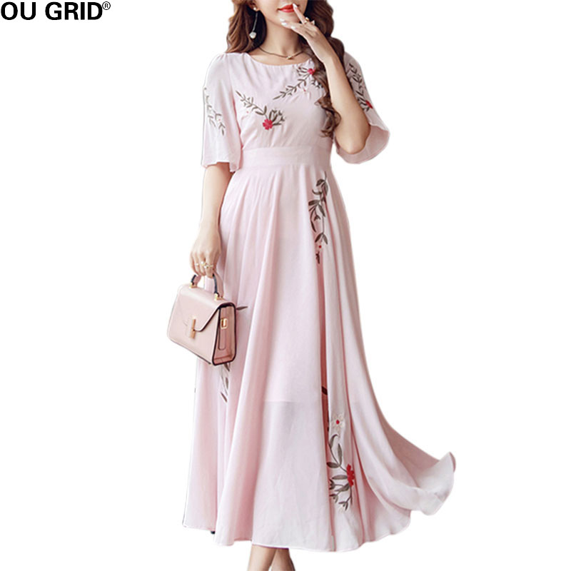 Women Elegant Summer Dress Long Flower Embroidery Pink Cotton and Linen Slim Short sleeve swing Pleated Dress New Arrival