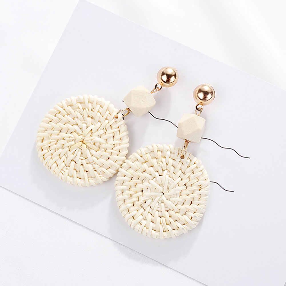 2019 модные богемные пляжные плетеные круглые Висячие женские серьги-гвоздики ювелирные изделия