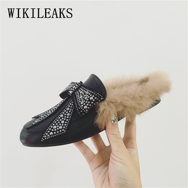 fur moccasins women mules shoes luxury brand flat shoes women flats slip on loafers zapatillas mujer casual ladies shoes black цена и фото