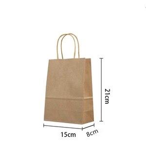 Image 2 - 50PCS 21x15x8cm DIY Multifunktions weiche farbe papier tasche mit griffen Festival geschenk tasche einkaufen taschen kraft papier verpackung tasche