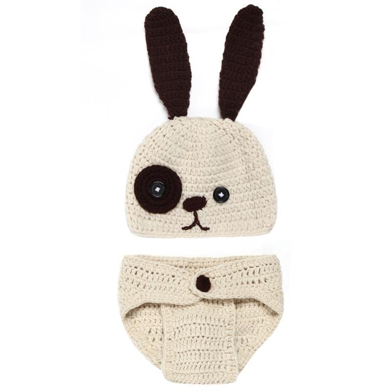 Newborn Baby Photography Props Clothing Set Cute Infant Knitted Rabbit Costume Soft Handmade Crochet Props Photo Fotografia