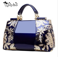JOYHO Luxury Evening Bags Women Leather Handbag Embroidery Shoulder Bags Female Purses and Handbags with Sequins Totes 2019