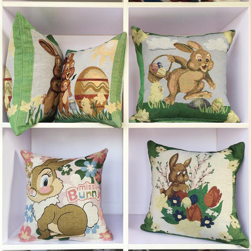 Cute Seat Cushion Rabbit Pattern Polyester And Cotton Embroidered Car Children Cushion Pillow Removable And Washable 45*45CM