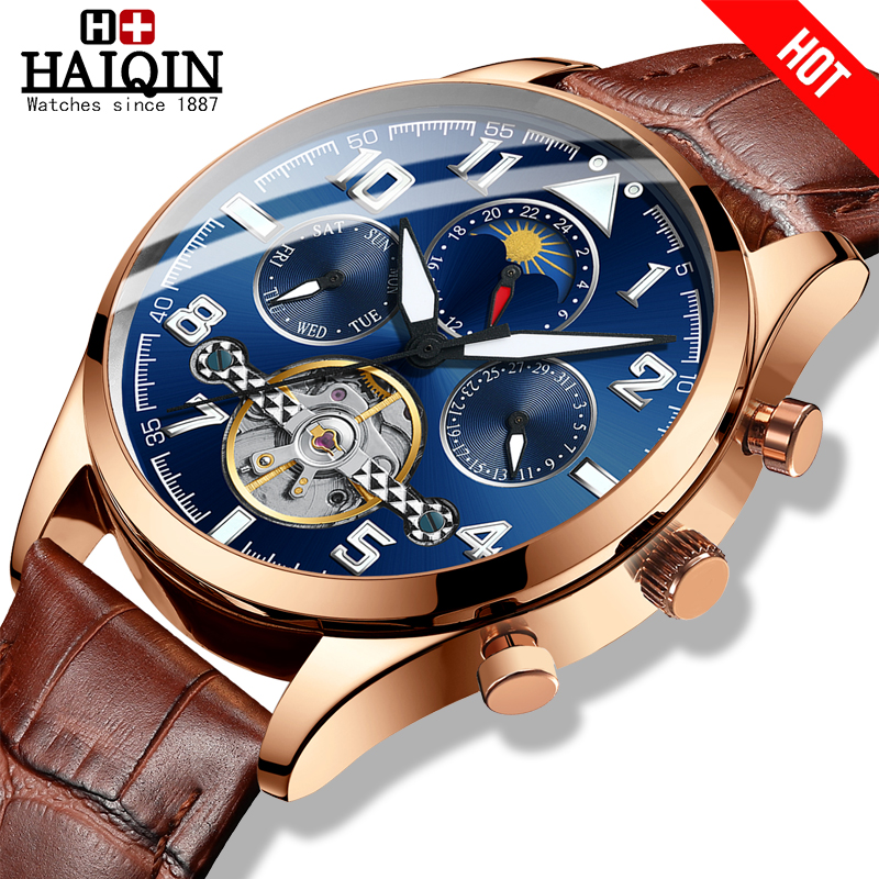 HAIQIN ファッションスポーツメンズ腕時計トップブランドの高級メンズ腕時計機械式時計メンズ腕時計トゥールビヨンリロイ hombre -