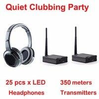 Silencieux Disco système complet noir led casque sans fil silencieux Clubbing Party Bundle (25 écouteurs + 2 émetteurs)|wireless headphones|silent disco|headphone headphone -
