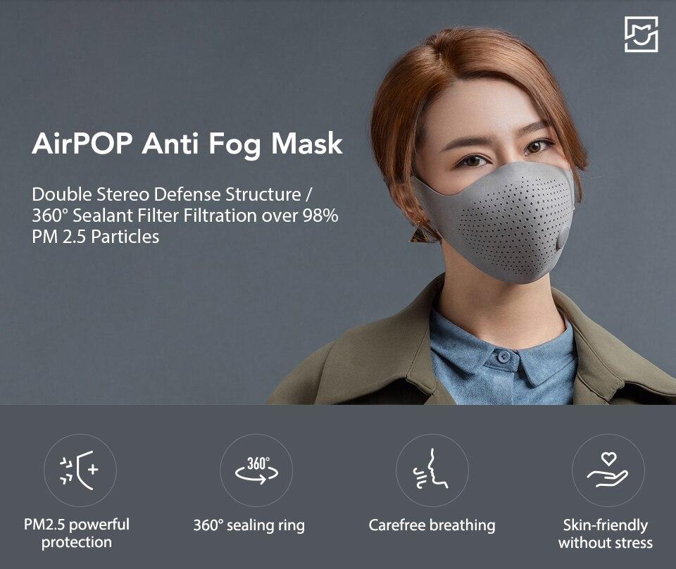 Xiaomi Mijia AirPOP Airwear Mask Light 360 PM2.5 Anti-Pollution Anti-haze FaceMask Material Antibacterial AIRWEAR Filter (4)