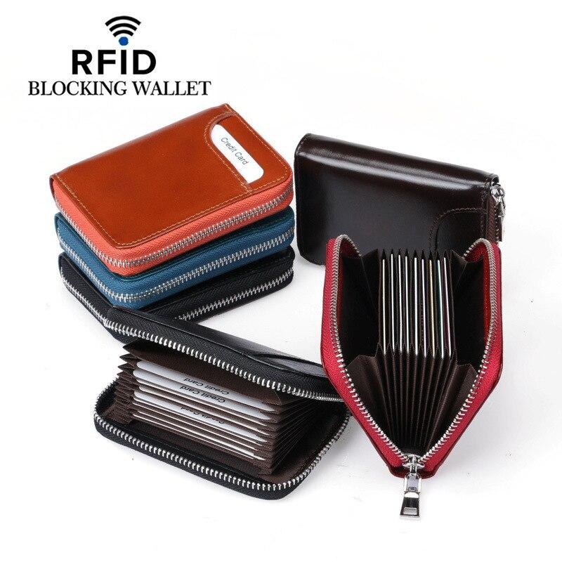 Card Holder Wallet RFID Blockering Kort Äkta Läder Kreditkort - Plånböcker - Foto 6