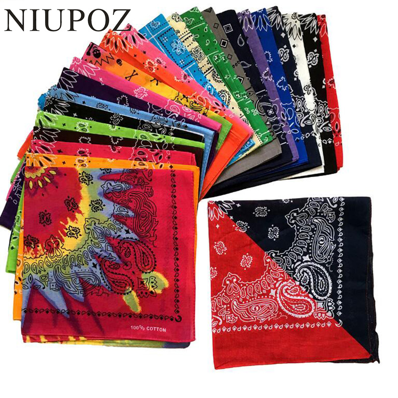 NIUPOZ 2019 New Hip Hop 100% Cotton Bandana Square Scarf 55cm*55cm Black Red Paisley