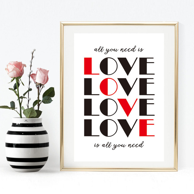 All You Need Is Love Quotes Canvas Painting Art Print Poster ...