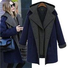 2016 Autumn Winter Latest Fashion Women Long sleeve Woolen Coat Leisure Loose Big yards Hooded Warm Medium long Women Coat G0146