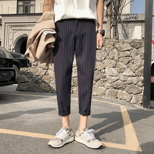 Image 4 - 2019 Mens Cotton Fashion Loose Printing Stripe Black/navy Haren Casual Pants Trousers Harem Hip Hop Pants Large Size M 5XL