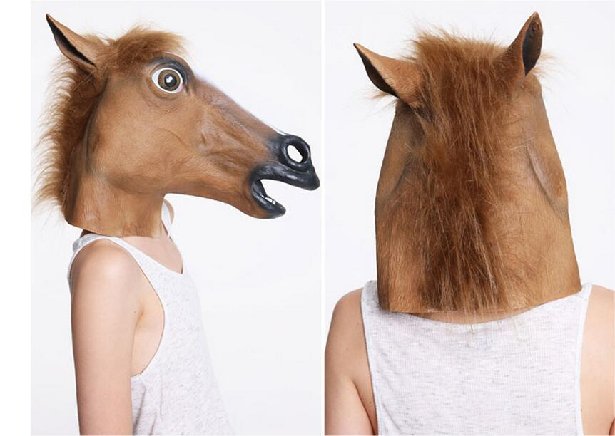 novelty creepy horse halloween head latex rubber costume theater prop party mask offering discounts silicone mask - Discount Halloween Props