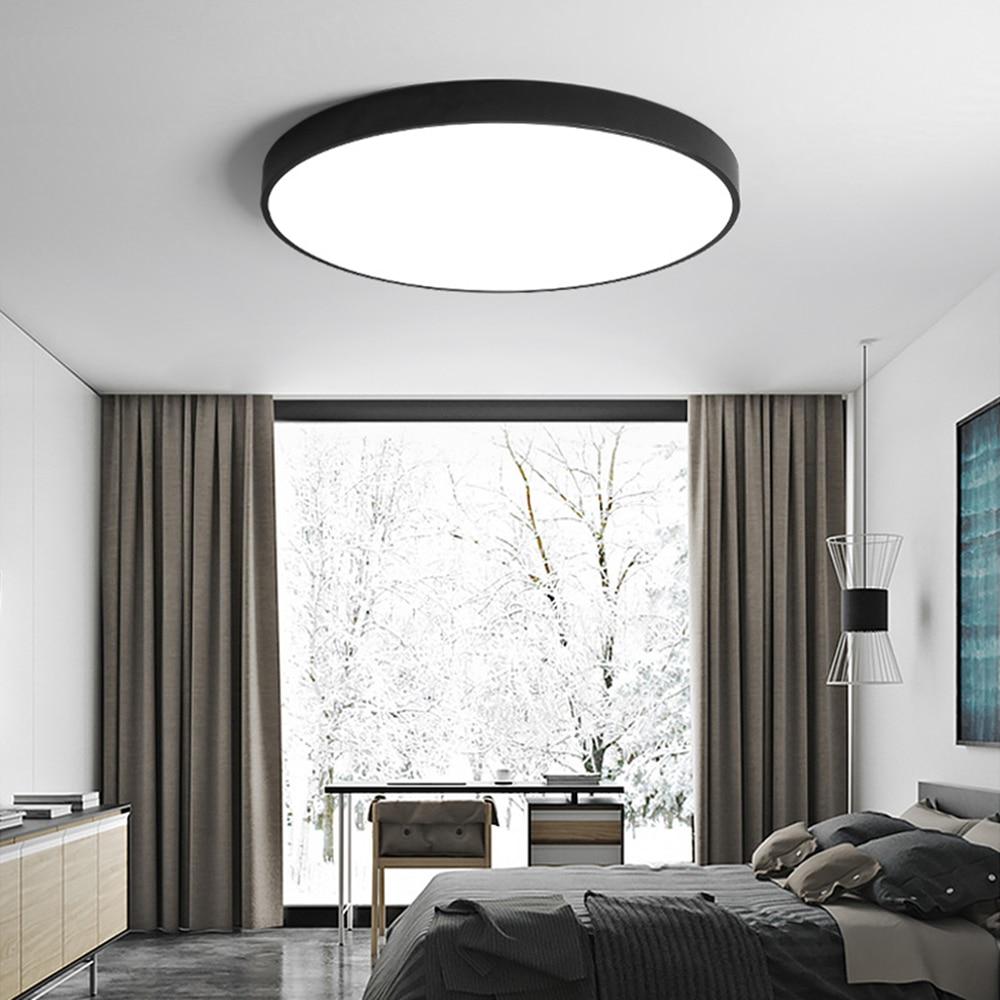 [DBF] Moderne Acryl Legierung Runde 5 cm Super Dünne LED Decke Licht Schwarz/Weiß 23/30 /40/50/60 cm LED Decke Lampe Für Foyer Schlafzimmer